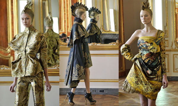 Outfits from the Alexander McQueen autumn/winter 2010 collection, at Paris fashion week