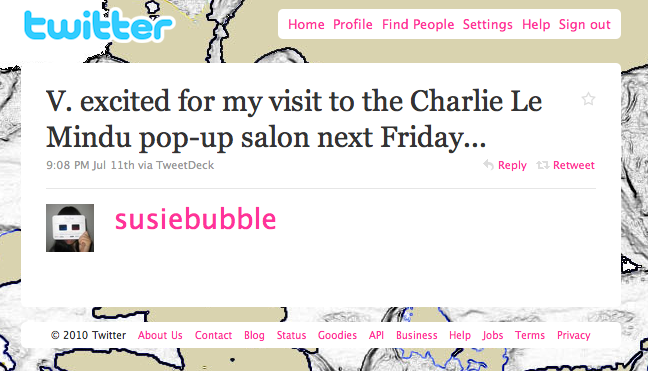 Susie Bubble Twitter Charlie le Mindu