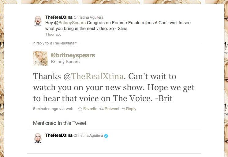 britney christina twitter conversation